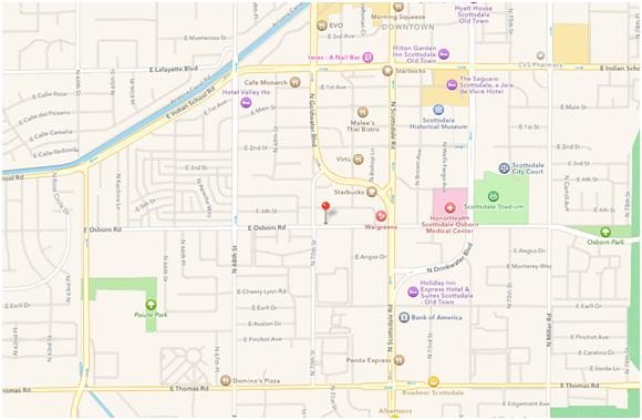 Map to Center in Scottsdale